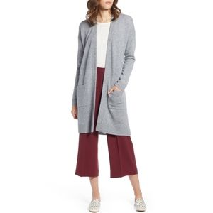 Halogen Rib Knit Wool & Cashmere Cardigan Gray SP